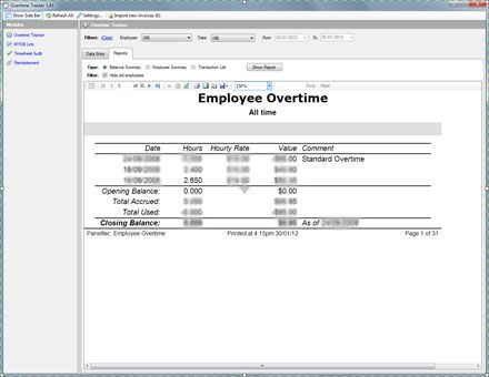 Overtime Report